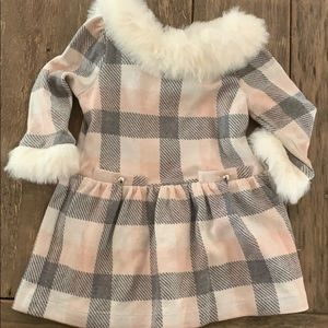 Faux Fur Trimmed Holiday Dress 6-12m